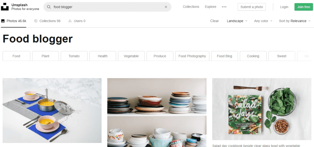 search page from unsplash with food blog stock photos