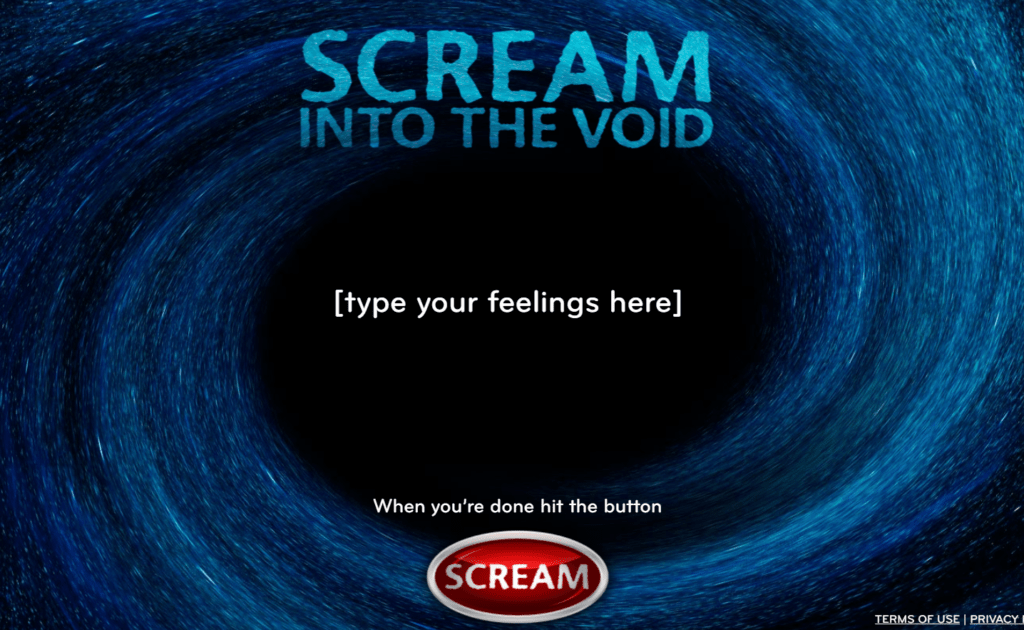 unusual websites - scree into the void